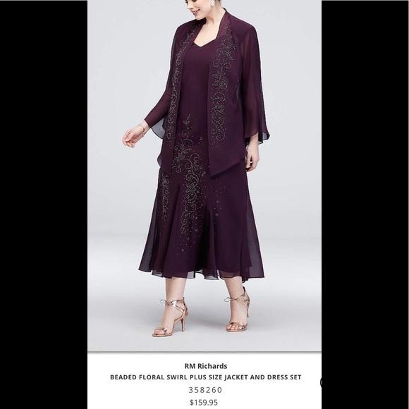 R & M Richards Dresses | Formal Jacket Dress Plus Size 16 Beaded ...